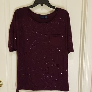 Purple short sleeve top with sequins, size M